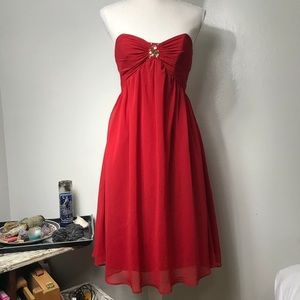 Alfred Angelo Jewel Embellished Cherry Red Dress 0